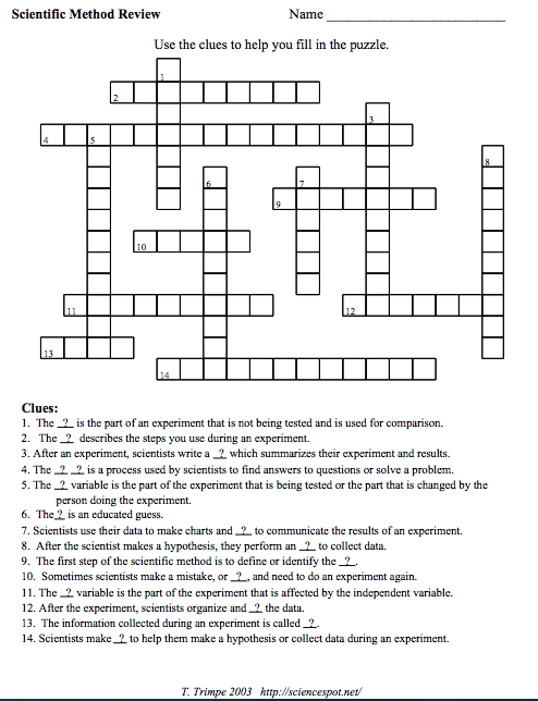 3 Free Scientific Method Crossword Puzzles Your Students Will Love
