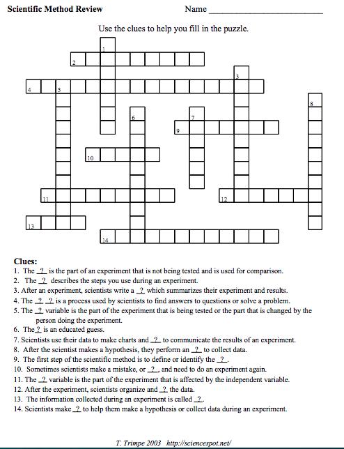 3 Free Scientific Method Crossword Puzzles Your Students ...