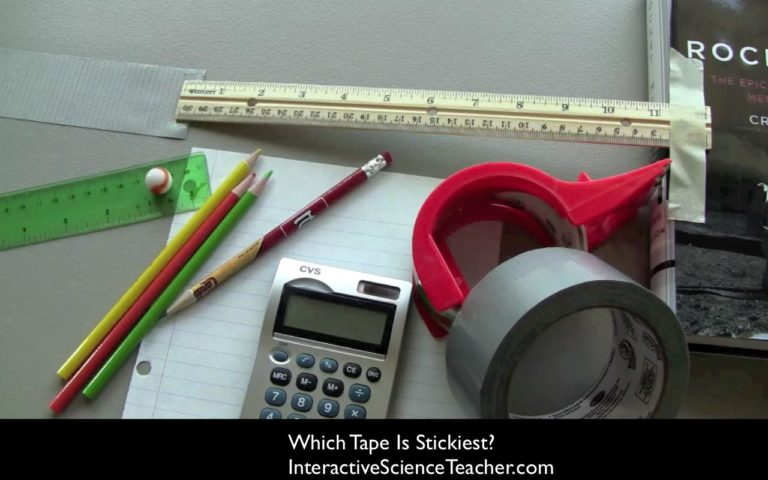 sticky tape experiment- roll a marble across tapes to see which is stickiest