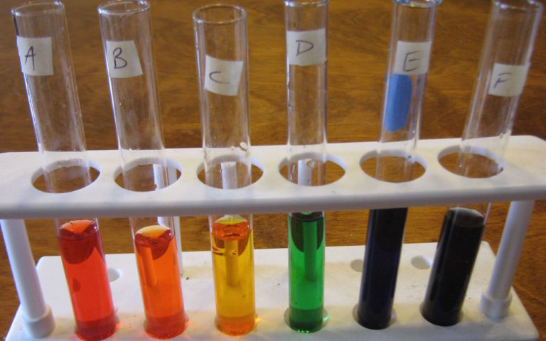 rainbow test tubes lab- follow the directions carefully to end with the right colors and amounts